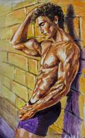 Athletic guy at wall Original oil painting on canv