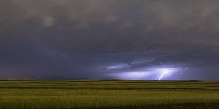 High Plains Lightning Strike Panorama