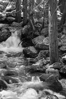 Bridal veil fall, flowing downstream (B&W)