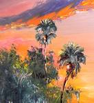Palm Tree Tops Sunset by Mazz Original Paintings