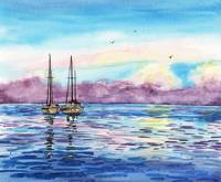 Purple Sky Seascape Watercolor by Irina Sztukowski