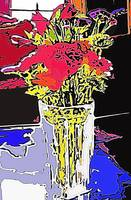 FLOWERS IN A VASE-SILK SCREEN