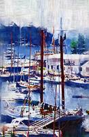 SAIL BOATS IN CAMDEN HARBOR MAINE