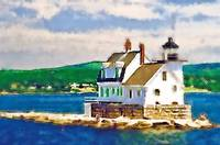 Rockland Harbor Maine Breakwater Light Watercolor