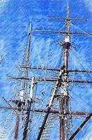 TALL SHIP RIGGING BOSTON MASSACHUSETTS WATERCOLOR
