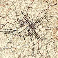 Vintage Map of Blacksburg Virginia (1932)