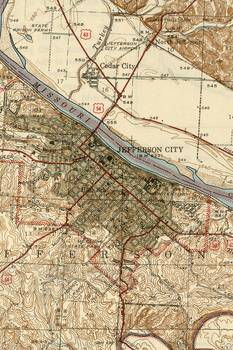 Vintage Map of Jefferson City MO (1939) by Alleycatshirts @Zazzle