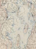 Vintage Map of The Narragansett Bay (1888)