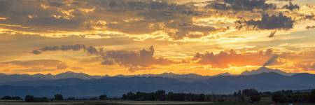 Colorado Rocky Mountain Front Range Panorama Sunse