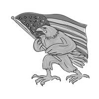 American Eagle Waving USA Flag Cartoon