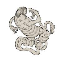 Hercules Fighting  Lernaean Hydra  Drawing