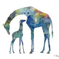 """Giraffe and Baby"" by k9artgallery"