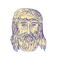 Jesus Face Crown of Thorns Drawing