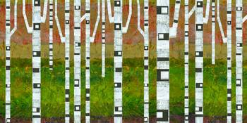 Birch Trees with Green Grass