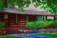 Log Cabin Front Porch by Kirt Tisdale
