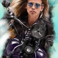 Steven Tyler on a bike Art Prints & Posters by Melanie D