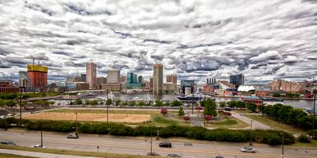 Baltimore Inner Harbor Panorama with Clouds