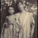 [Sicilian Boy and Girl Before Floral Textile]; Bar