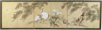 A SIXFOLD SCREEN PAINTED WITH CRANES, PINE TREES A