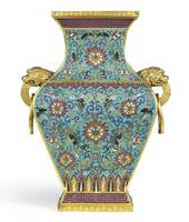 CLOISONNÉ  ENAMEL AND GILT-BRONZE VASE