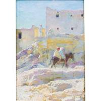 ETIENNE DINET ; CHILDREN RIDING AN ASS AT BOU SAAD