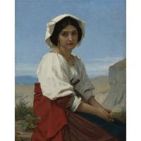 Hugues Merle 1823 - 1881 FRENCH ITALIAN GIRL