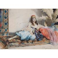 GUSTAVO SIMONI ; ODALISQUE WITH BLUE TROUSERS