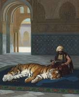 Jean-Léon Gérôme ,  THE TIGER AND THE GUARDIAN