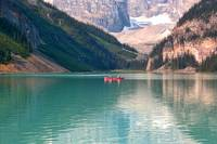 Lake Louise with Canoes b by Carol Groenen