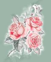 Pink Roses Watercolor Bouquet