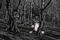 Scary Bunny in the Dark Woods