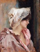 ALBERT EDELFELT, PARISIAN LADY IN PEIGNOIR.