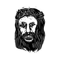 Christ Savior Head with Thorns Woodcut