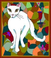 Kitty with stained glass window in earth tones