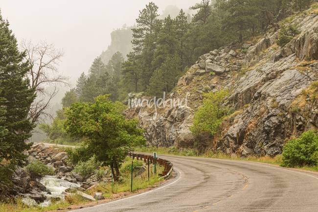 Rainy Misty Boulder Creek and Boulder Canyon Drive