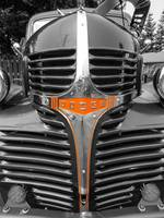 Black, White, And Orange Dodge Truck Front Ent