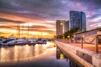 Sunset at City Harbor San Diego California