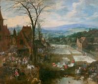BRUEGHEL EL VIEJO, JAN   Flemish Market and Washin