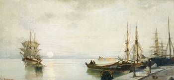 Constantinos Volanakis 1837-1907 GREEK SUNSET OVER