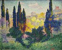 Cypresses at Cagnes, at and by Henri-Edmond Cross