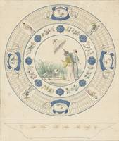 Design drawing for a plate with a lady with a para