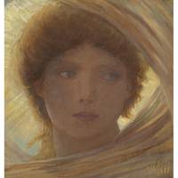 Elihu Vedder 1836 - 1923 PORTRAIT OF A YOUNG WOMAN