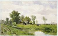 Farmhouse by a Ditch, Willem Roelofs (I), 1875 - 1