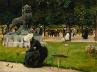 In the Luxembourg (Garden) by Charles Courtney Cur