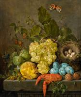 Johann Daniel Bager, Still Life with Fruit, Crab,