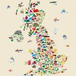 """Animal Map of Great Britain ; NI for children and"" by ModernArtPrints"