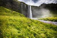 Low Angle View of the Seljalandsfoss Waterfall, Ic