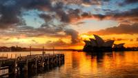 Australia's Sydney Opera House At Sunset