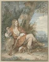 Resting hunter with musket and partridge in a tree