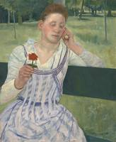 Woman with a Red Zinnia by Mary Cassatt